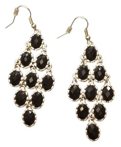 Silver Earrings with Black Rhinestones