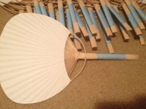 White and Bamboo Fans with Capri Blue Ribbon Other
