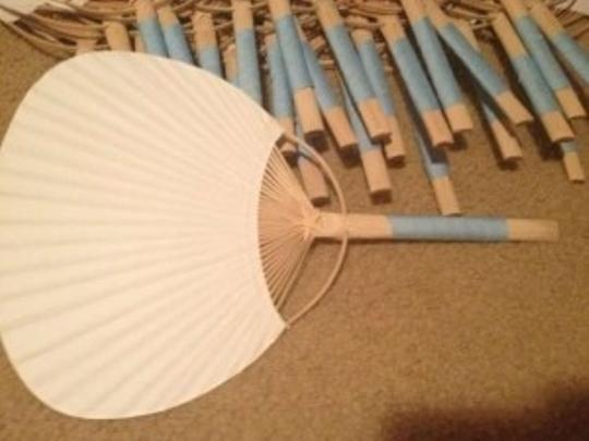 Preload https://img-static.tradesy.com/item/168003/white-and-bamboo-fans-with-capri-blue-ribbon-other-0-0-540-540.jpg