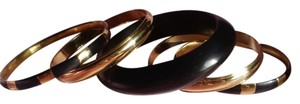 New 5 Wooden & Goldtone Bangles