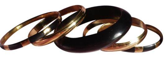 Other New 5 Wooden & Goldtone Bangles