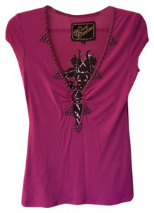 Soul Revival Club Embroidered Bead T Shirt purple, dark pink, brown