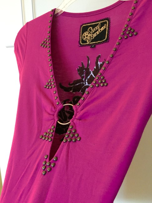 Soul Revival Club Embroidered Bead Dress Up T Shirt purple, dark pink, brown