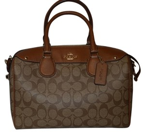 Coach Leather Trim Satchel in Brown and Tan