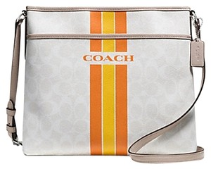 Coach Monogram Classic Canvas Leather Zip Top Gray Messenger Bag