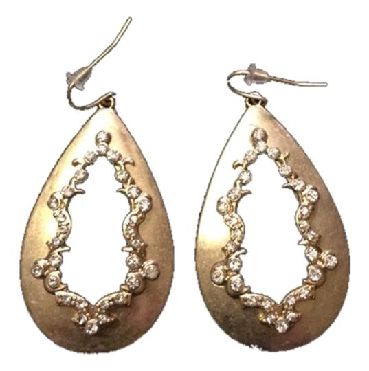 Other Gold Pear Shape Drop Earrings with Rhinestones