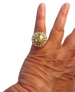 Lagos size 7, sterling silver, 18k yellow gold, dome fashion ring