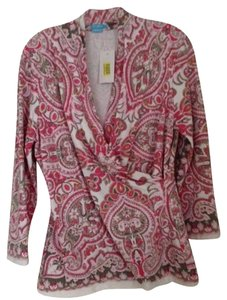J. McLaughlin Top lt. coral/taupe/pink/white