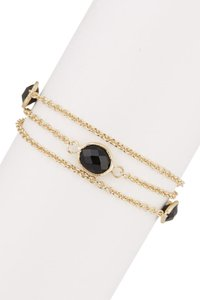 Rivka Friedman Rivka Friedman 18K Gold Clad Faceted Onyx 3-Row Cable Link Bracelet