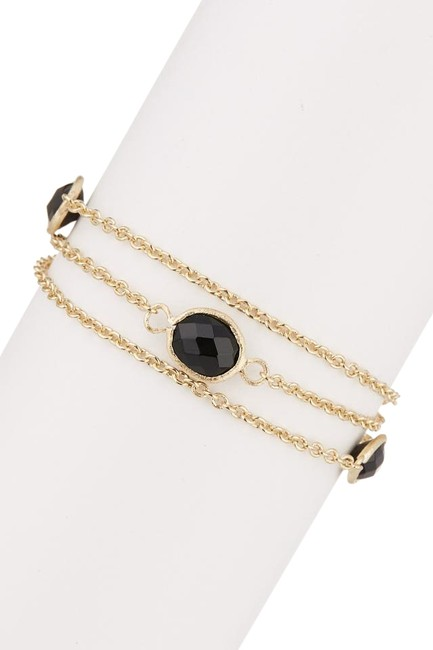 Item - Gold 18k Clad Faceted Onyx 3-row Cable Link Bracelet
