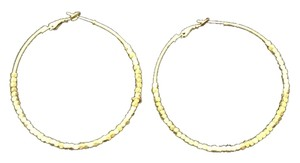 Gold Hoop Earring with Small Square Beads