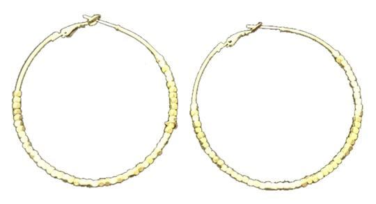 Other Gold Hoop Earring with Small Square Beads