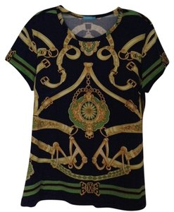 J. McLaughlin Top navy/gold/green