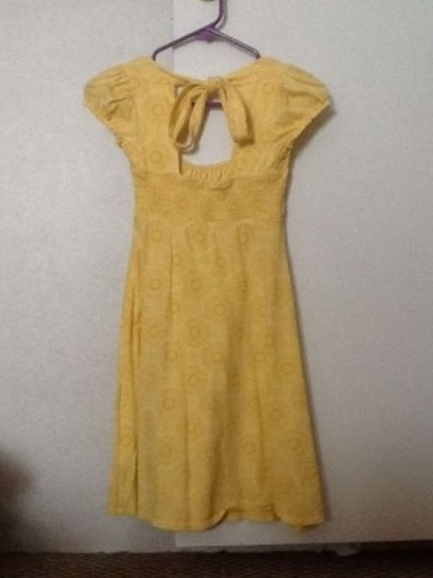 L.E.I. short dress Yellow Summ Summer Sundress Spring Scoop Back Backless Short A-line Comfortable Date Night Evening Preppy Print Floral Flowy on Tradesy