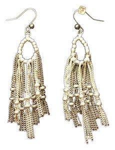 Other Silver Pear Shape Drop Earrings with Bead and Chain Detail
