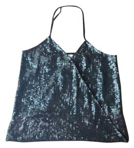 Parker Sequin Silk Black Halter Top