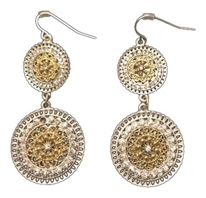 Two Tone Circle Earrings with Rhinestones