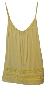 Ella Moss Inset Lace Daisy Trim A-line Top Yellow