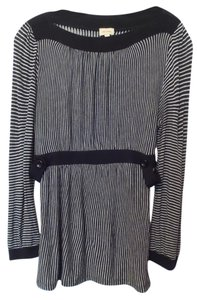 Ella Moss Knit Anthropologie Striped Boat Neck Inset Waist Tunic