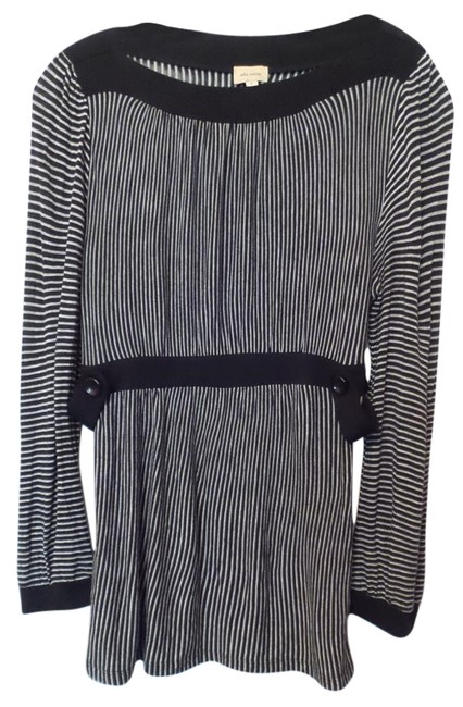 Item - Black and White L Striped Inset Waist Tunic Size 12 (L)