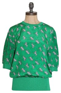 Castleberry Zebra Animal Print Waist Band Top GREEN