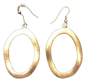 Other Gold Wavy Oval Shape Drop Earrings