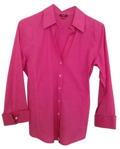 Talbots Wrinkle Resistant 3/4 Sleeve Button Down Top Pink
