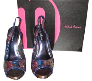 Michael Antonio Peep Toe Sequins Blue Silver Purple Sequined Pumps