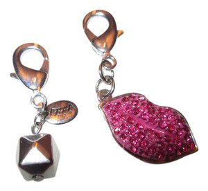 Juicy Couture *Juicy Couture Lips charm, Dark pink and silver/Free silver cut charm