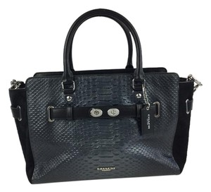 Coach Satchel in Metallic Grey and Black