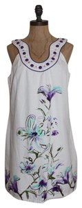 Aryeh short dress WHITE Beaded Floral on Tradesy