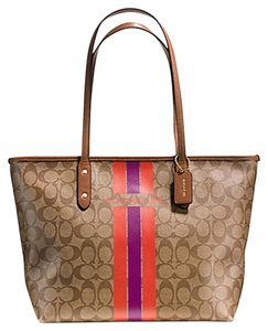 Coach Classic Monogram Signature Stripe Tote in Brown