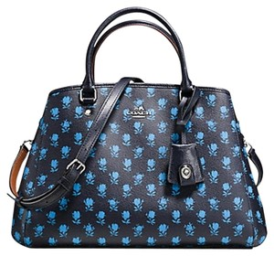 Coach Structured Strap Flowers Black Satchel in Blue