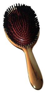 Janeke JANEKE 1830 Italy 24k Galvanised Gold Paddle Hand Made Hairbrush NEW