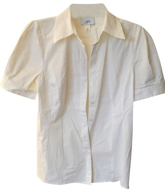 Ann Taylor LOFT Short Sleeve Puff Sleeve Button Down Shirt white