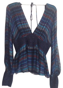 BCBGMAXAZRIA Top Multi blue/brown/ burgundy
