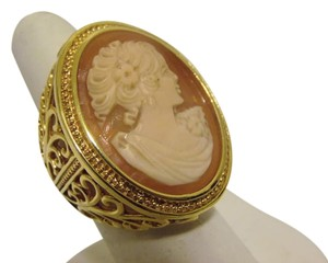 AMEDEO AMEDEO NYC 30MM Large Cornelian Cameo Open Swirl Ring Size 9