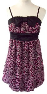 Barbie short dress Pink and Black Leopard Print on Tradesy