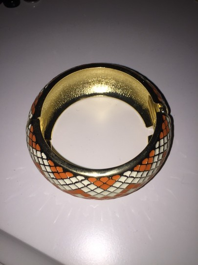 Other Thick Gold, White And Orange Bangle