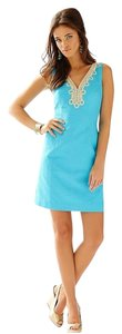 Lilly Pulitzer short dress Turquoise Blue Bentley V-neck Shift Color on Tradesy