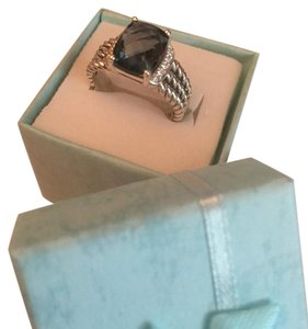 David yurman petite wheaton ring with hampton blue and diamonds
