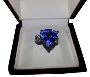 Custom-Made Custom 14K White Gold Ring with Diamonds and 6.42 Carat Natural Tanzanite Trillion