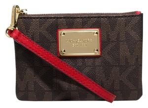 Michael Kors Jacquard Jet Set Gold-tone Hardware Wristlet in Brown Signature Logo with Red Leather Handle
