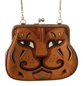 Brighton Leather Cats Animals Removable Strap Shoulder Bag