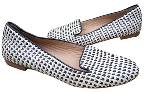 J.Crew Woven Leather Nautical Smoking Loafers WHITE & NAVY Flats