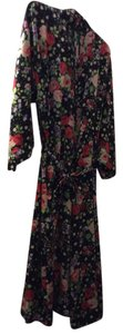 Amanda Stewart Sexy Robe Top Multicolor flowers on black