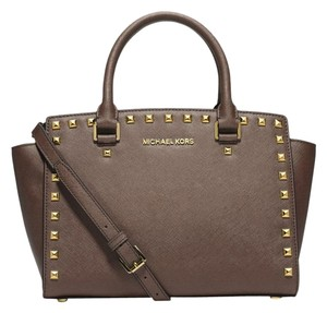 Michael Kors Mk Luggage Satchel in Dark Dune/Gold