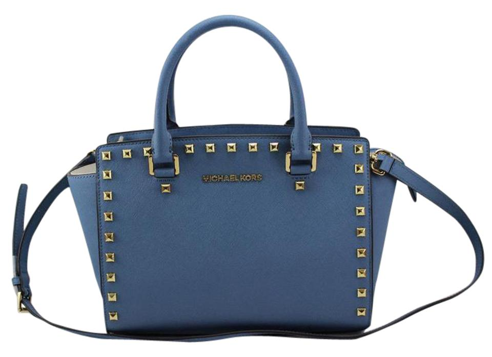 3b8941f017 Michael Kors Selma Medium Studded Top Cornflower Blue Gold Hardware  Saffiano Leather Satchel