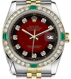 Rolex Ladies Rolex 26mm Datejust 2 Tone Red Vignette Emerald Dial with Diamond Accent