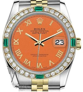 Rolex Ladies Rolex 26mm Datejust 2 Tone Orange Color Roman Numeral Emerald